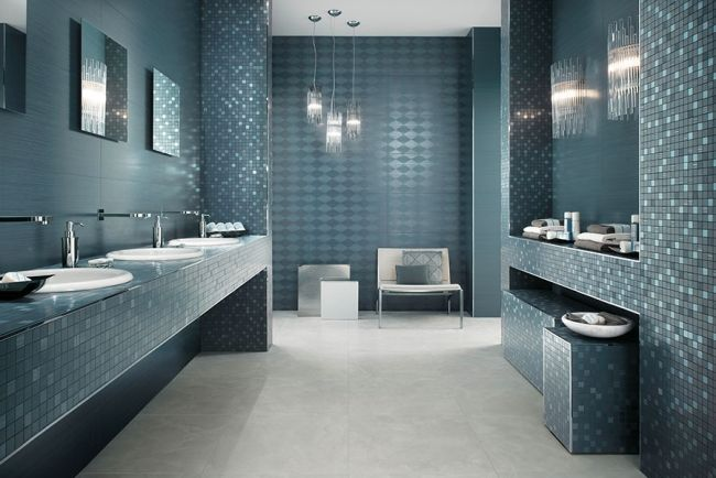 Wunderbar Bathroom Tiles Atlas Concorde Mosaic Mirror Blue Gray