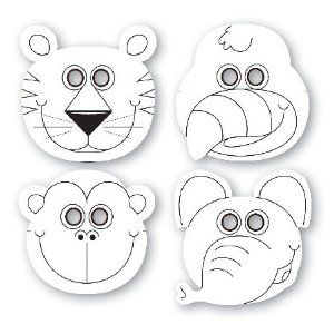 Jungle Buddies Color Your Own Paper Masks 12 Per Pack 1.93