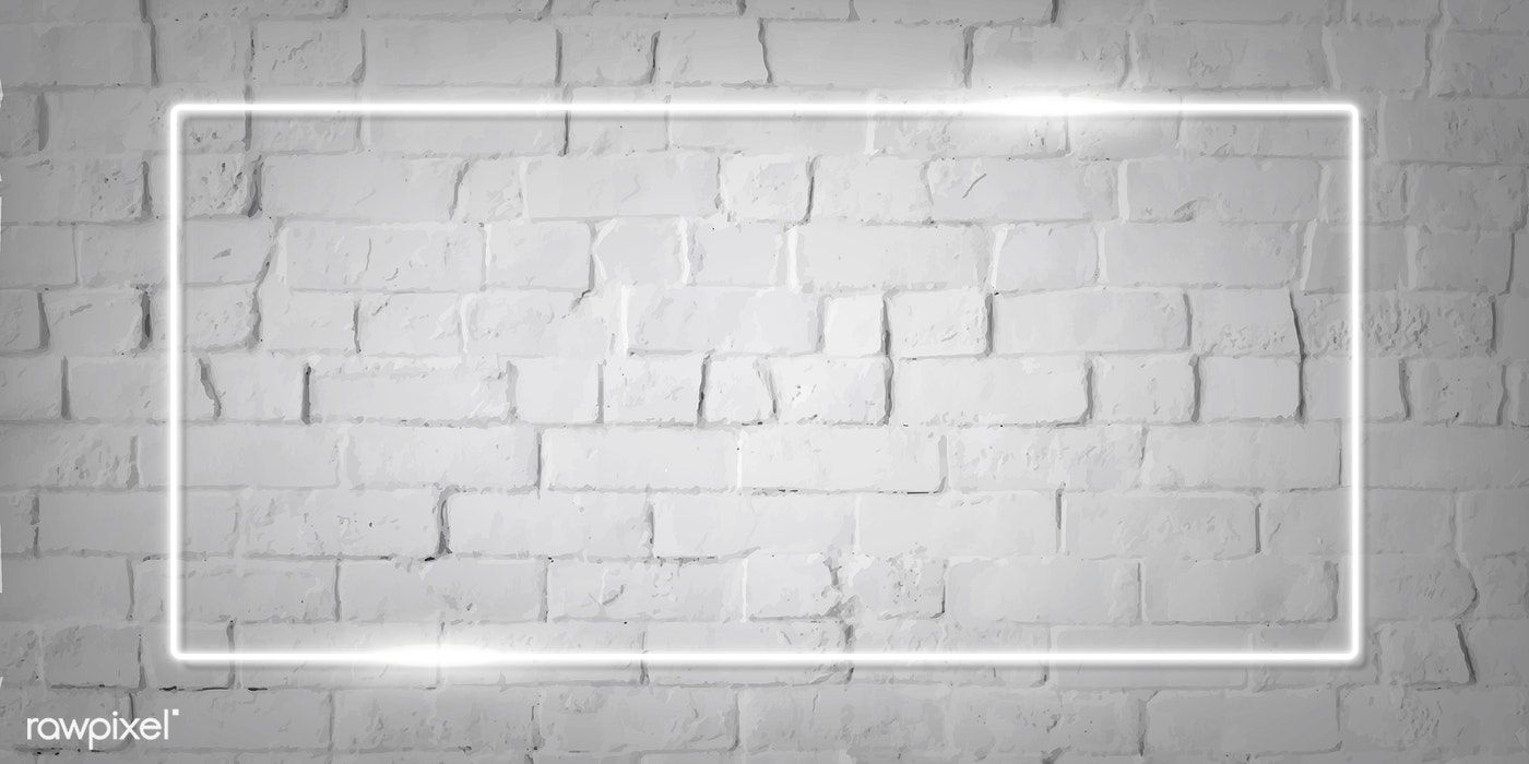 Download Premium Vector Of Rectangle White Neon Frame On A White Brick Youtube Banner Backgrounds Youtube Banners Brick Wall Background
