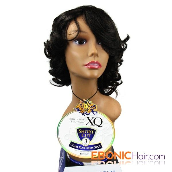 Ebonichair Xq Cuticle Remy Human Hair Short Cut Weave Glam Roll 3pcs