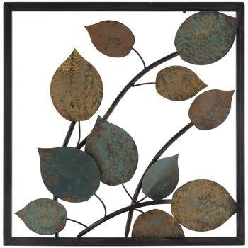 Yellow & Blue Metal Leaf Wall Decor