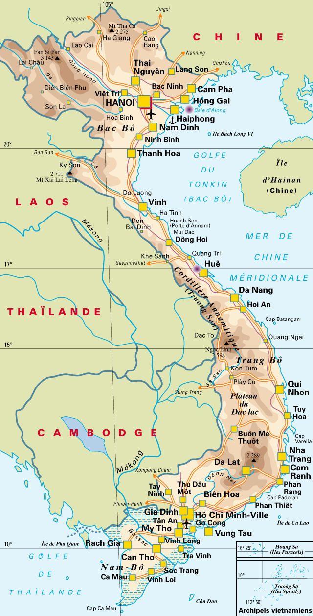 Carte du Vietnam • Voyages - Cartes   Carte vietnam