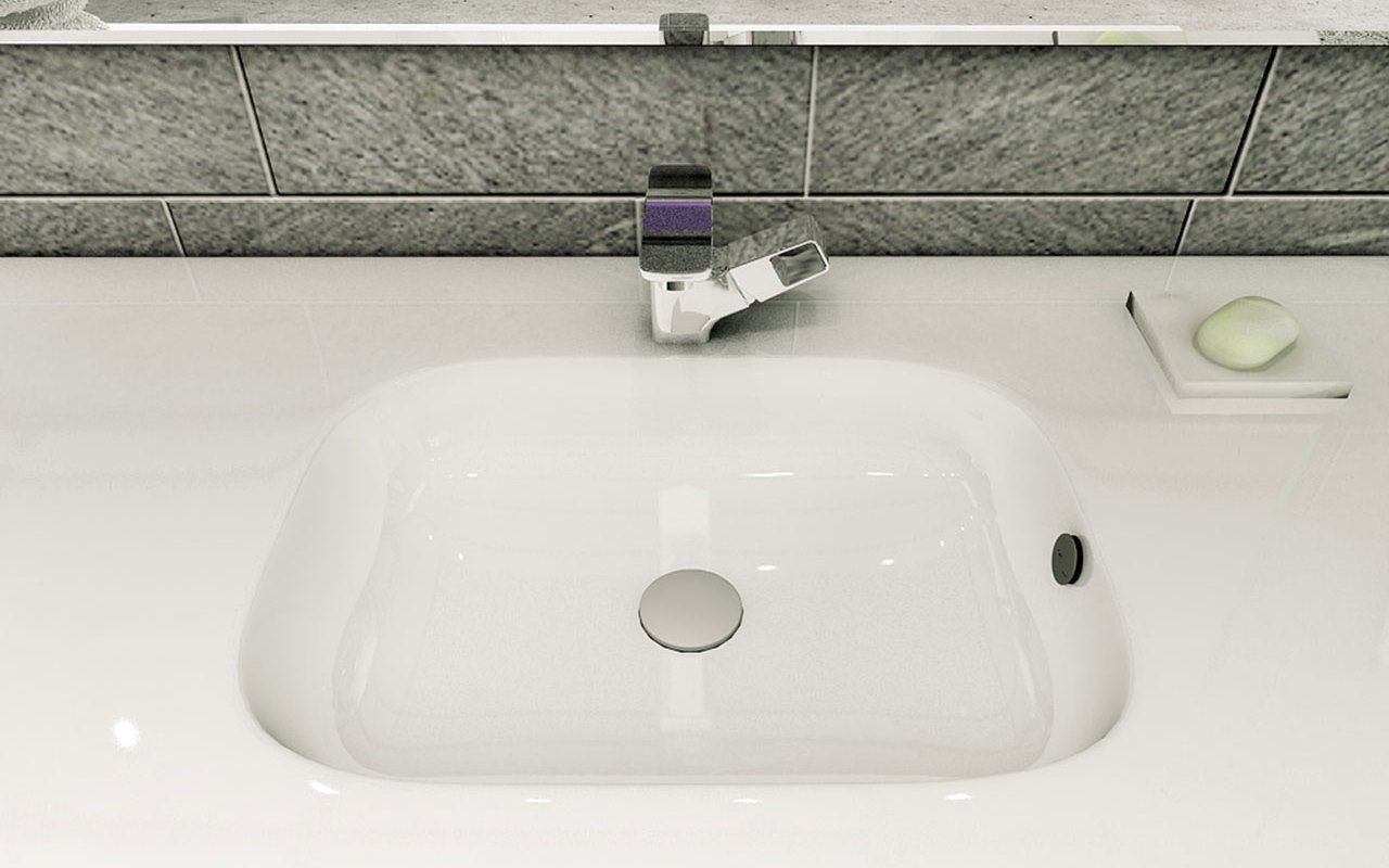 Vanity Top Washbasin With Customizable Width And 1 To 3 Bowls