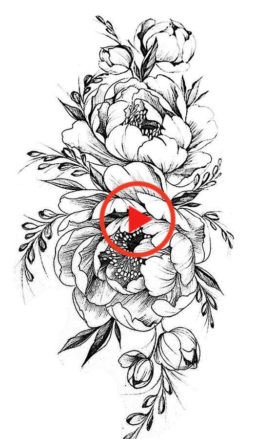 Image result for birds black peony vintage and. White #flowertattoos #tattooarm #watercolortatt #tattoo