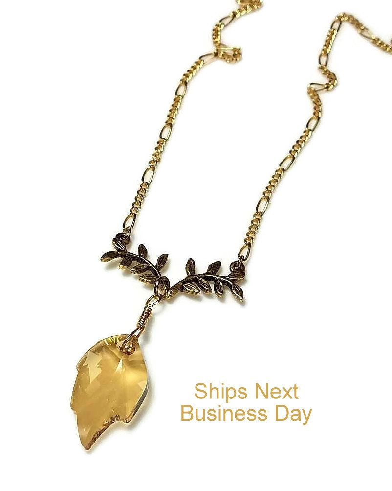101a422b3dd17 Swarovski crystal leaf pendant necklace with gold chain necklace jpg  802x1003 24k gold chain