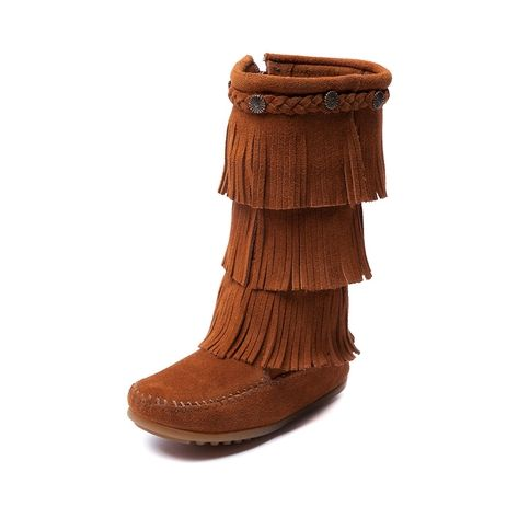 Shop for YouthTween Minnetonka Three Layer Fringe Boot in Brown at ...