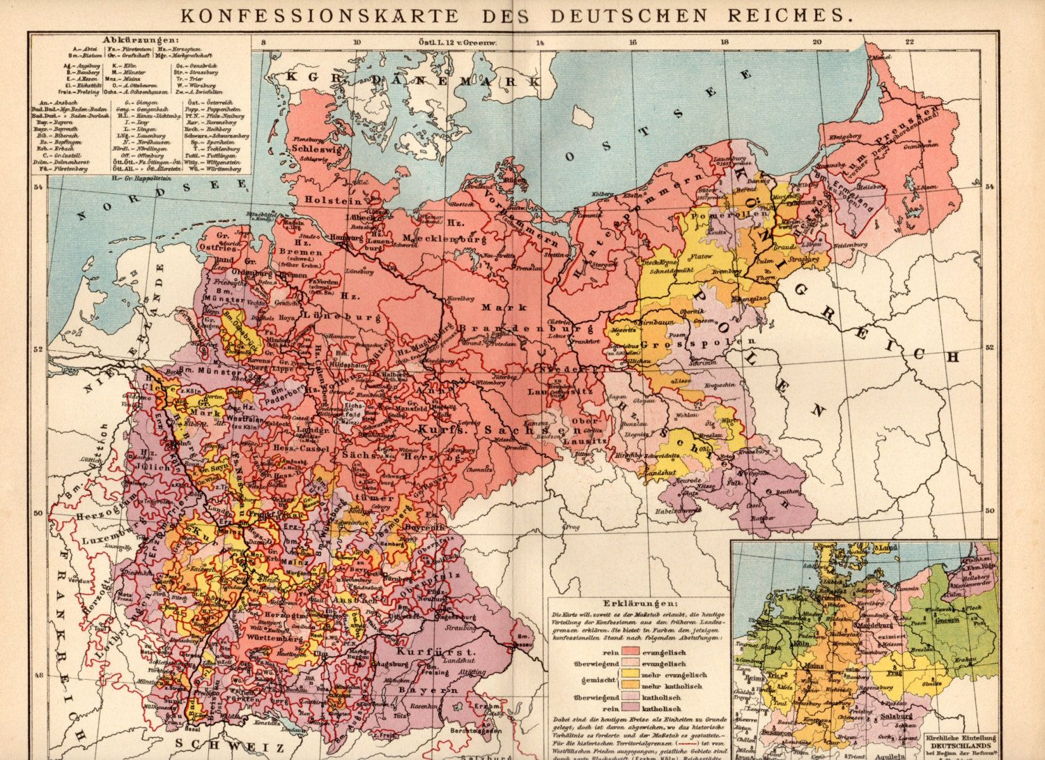 German Empire Religion Map Google Zoeken Maps Charts
