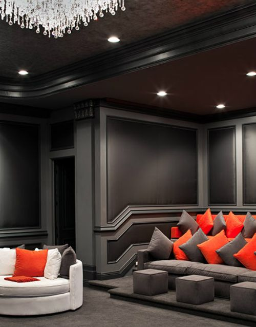 Contemporary Home Decor Ideas ~ contemporary home theater / movie room - to  die for. I would choose a little brighter colors but this is amazing