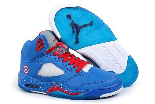 78f52537c78 Air Jordan 5 Captain America High Top Marvel Custom Design Shoes ...