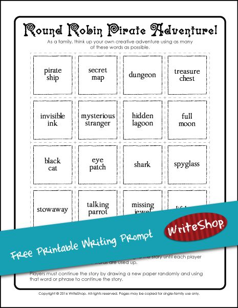 009 Pirate adventure printable writing prompt Free Writing