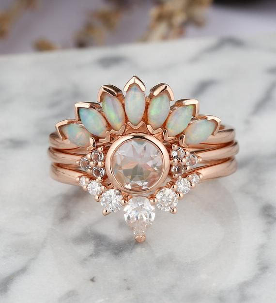 Photo of Art deco moonstone engagement ring Vintage Opal Topaz Jewelry rose gold Unique moissanite wedding band Bridal set Anniversary gift for her