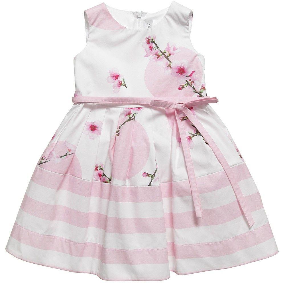 Simonetta Pink Floral Cotton Dress  at Childrensalon.com
