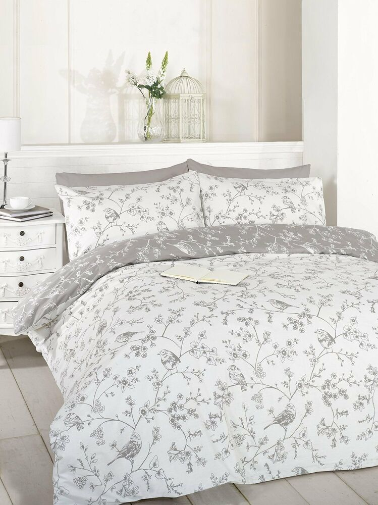 French Bird Flowers Floral Toile Taupe Grey Double Duvet Cover Set Ebay Bird Duvet Covers Vintage Bed Bed Duvet Covers