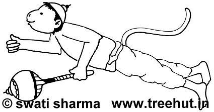 Lord Hanuman Coloring Pages Set 1 TreeHutin Coloring Pages