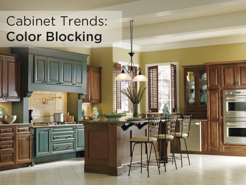 This Decora kitchen, featuring Hawthorne cabinets with Mink and Turquoise Rust finishes, is color blocking at its finest. Check out other popular cabinet color trends here: http://www.masterbrand.com/get-started/design-your-room/trends/cabinet-colors