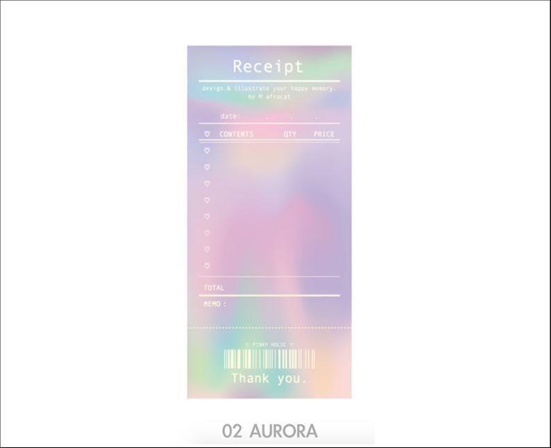 Receipt Pink Holic Notepad Aurora Pink Notepads Memo Pad Etsy