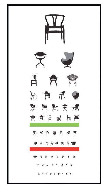 Weird Picture Poster Snellen Artwork Framed Print Different Chairs Eye Chart