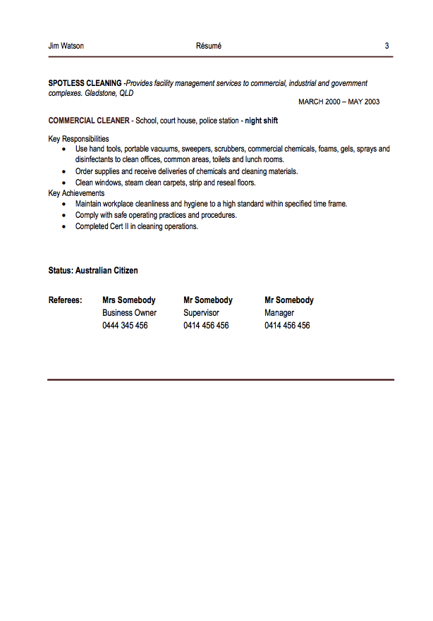Commercial Cleaning Resume