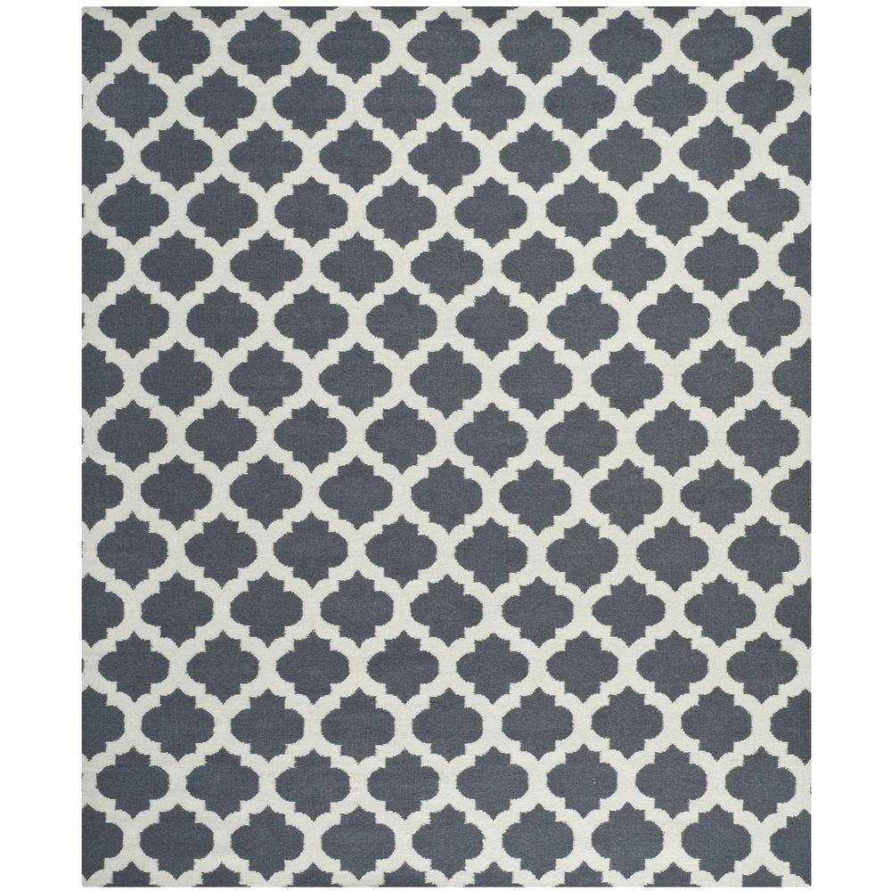 Safavieh Hand Woven Moroccan Reversible Dhurrie Blue Wool Rug 8 X 10
