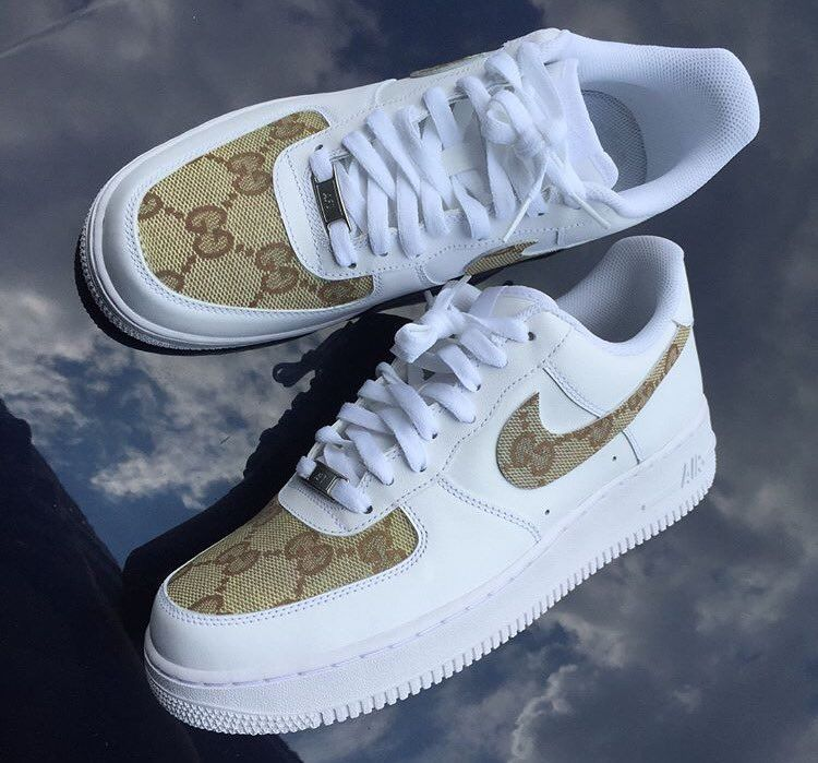 red white and blue air force 1 with gold check
