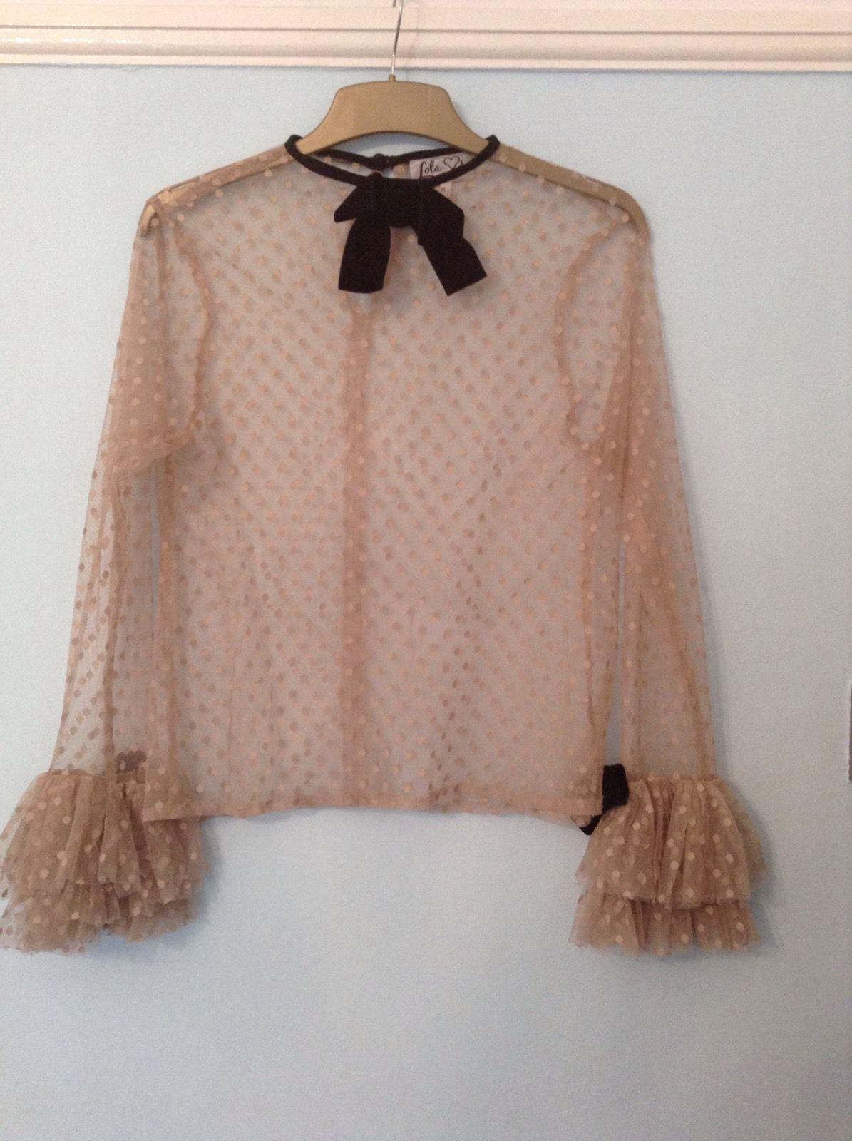 Lola Loves Peach And Black Top With Ruffle Sleeves Medium | eBay