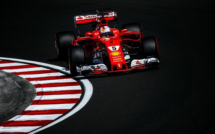 Download Wallpapers Sebastian Vettel 4k Movement Ferrari Sf70h