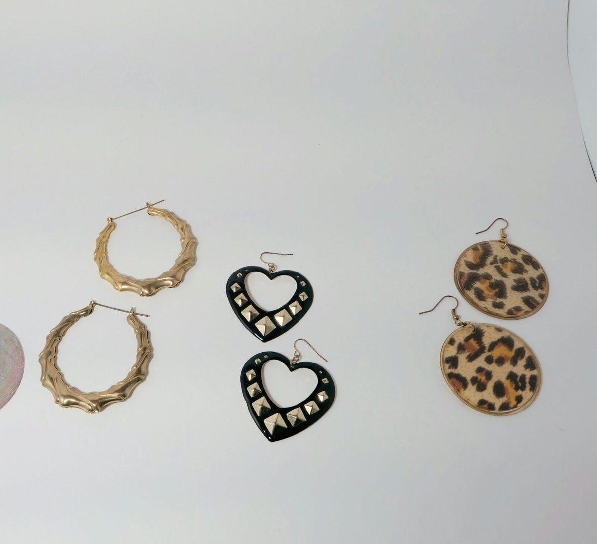 3 Pair Earring Bundle Hoop Statement