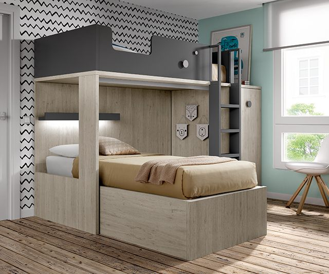 Lit superposé pour chambre ado avec un armoire amovible   Chambres ... 5395b8a70f85