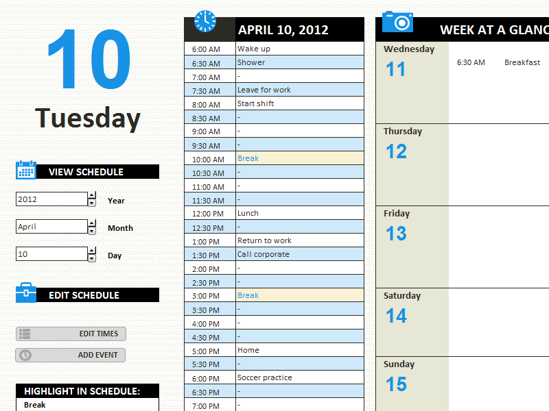 Daily Work Schedule  Templates  OfficeCom  Middle High