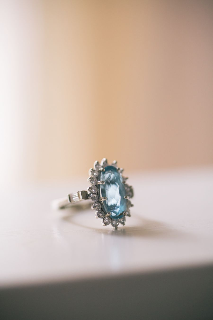 Beautiful aquamarine engagement ring: http://www.stylemepretty.com/2016/04/13/starburst-aquamarine-engagement-ring/