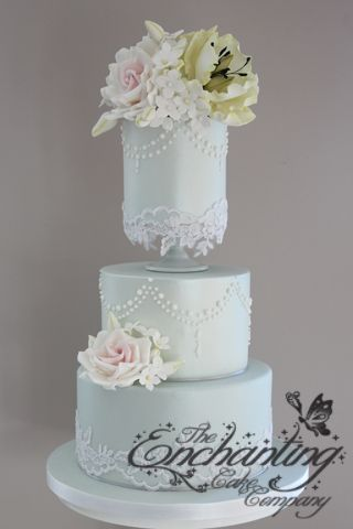 Duck Egg Blue Lace Pastel Wedding Cakesunusual