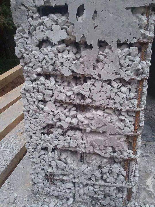 Segregación del hormigón. Falta de lechada de cemento ...
