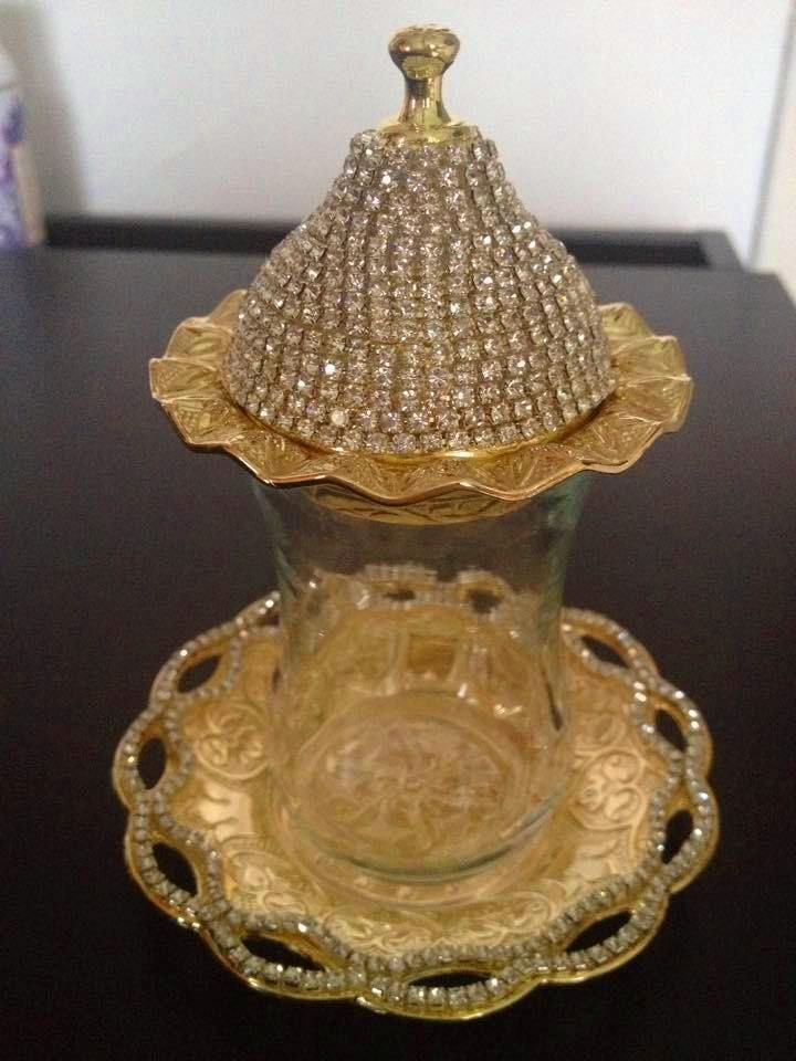 AUTHENTIC HANDMADE COPPER SUGAR CANDY BOWL SWAROSKI STYLE CRYSTAL COATED LARGE
