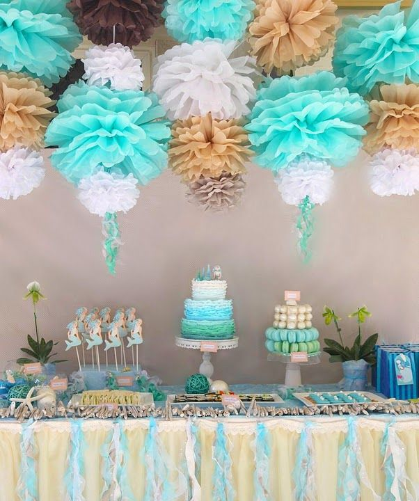 Stacked Pom Poms Blue Gold Brown White Dessert Table Wedding Decorations Birthday Party Themes Mermaid Theme Birthday Girls Birthday Party