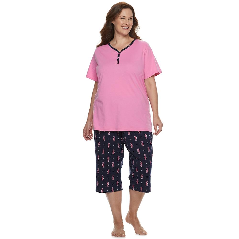 a001135ede921 Plus Size Croft & Barrow Sleep Henley & Skimmer Capri Pajama Set, Women's,  Size: 4XL, Med Pink