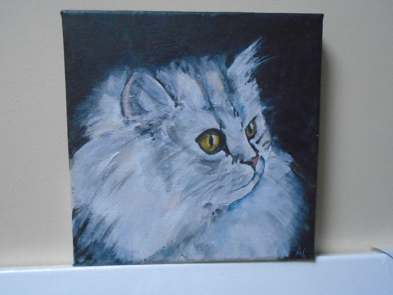 White Longhaired Kitten, Oil Painting, 20 x 20 cm in 2020