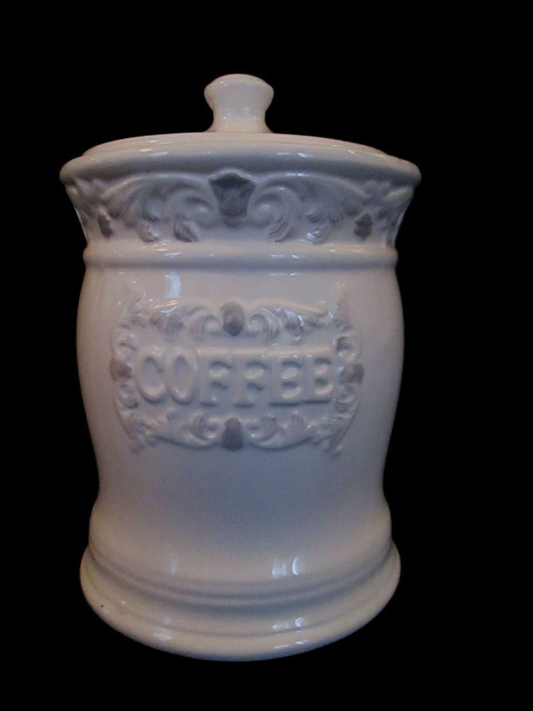 Glazed Ceramic Coffee Canister White W Embossed Acanthus Leaves Airtight Lid Glazed Ceramic Coffee Canister Acanthus Leaf