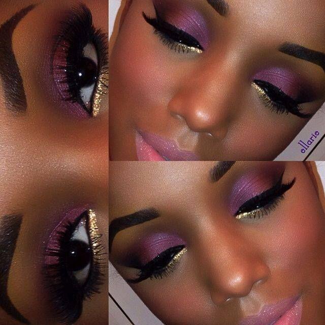 purple gold eyeshadow w peachy pink lips