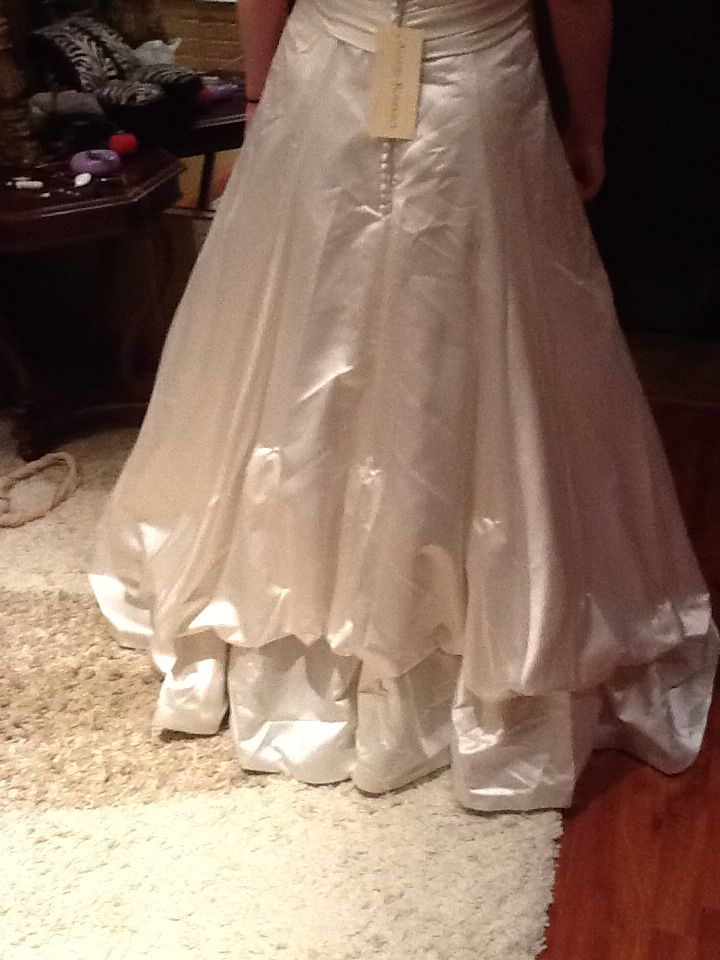 Low French bustle a line wedding gown | Wedding Gown Bustle Styles ...