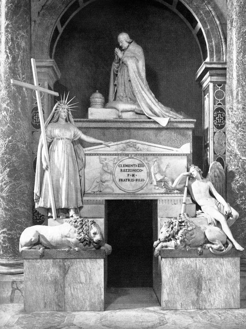 Antonio Canova - Tomba di Clemente XIII Benché l'illuminismo generalmente ricusi l'esistenza di una vita ultraterrena fra 700' e 800' videro la luce alcuni dei più maestosi mausolei. Canova ne realizzò svariati di notevoli dimensioni e come lui fece in Francia Jean-Baptiste Pigalle, autore, fra gli altri, del monumento funebre per Henri d'Arcourt, tuttora visibile a Notre Dame.