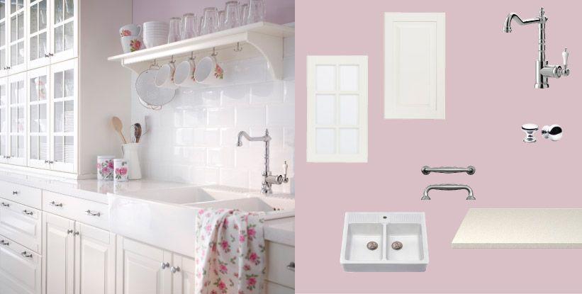 FAKTUM Küche mit LIDINGÖ Türen Schubladen Glastüren weissgrau und - ikea küche faktum weiß hochglanz