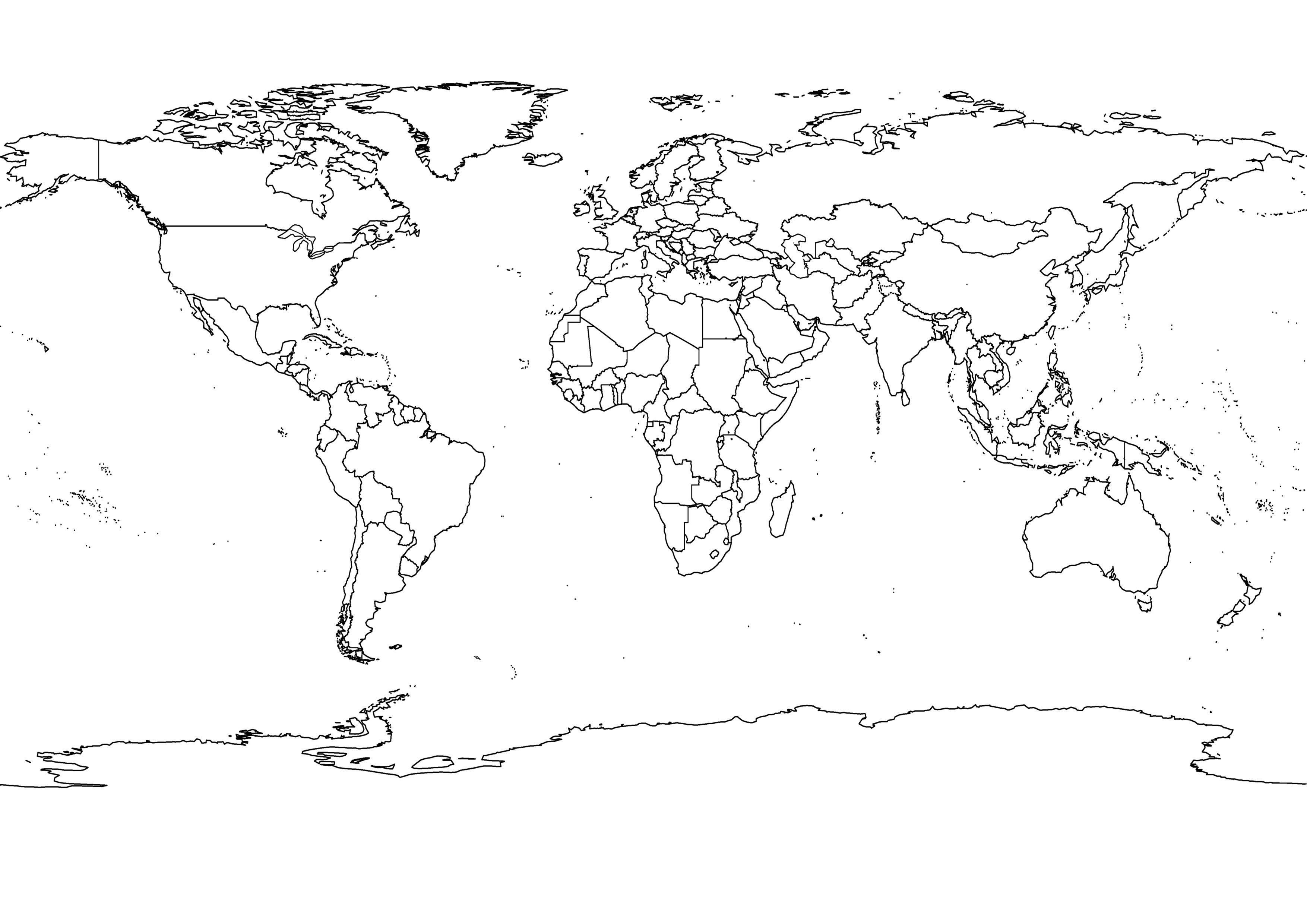 Black And White World Map With Countries World Map Printable