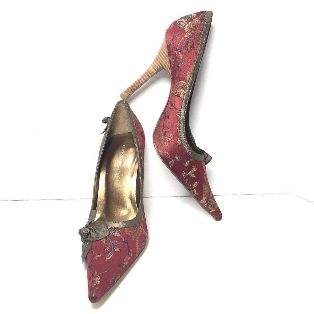 67d8698089fe Women s BANDOLINO Red Floral Pointy High Heel Classic Pumps Stilettos Size  7.5 M  Bandolino  pumpsClassics  Any