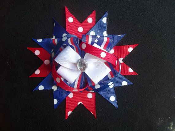 Red White and Blue 4th of July Boutique Hair Bow by Clinedesignz, $4.00