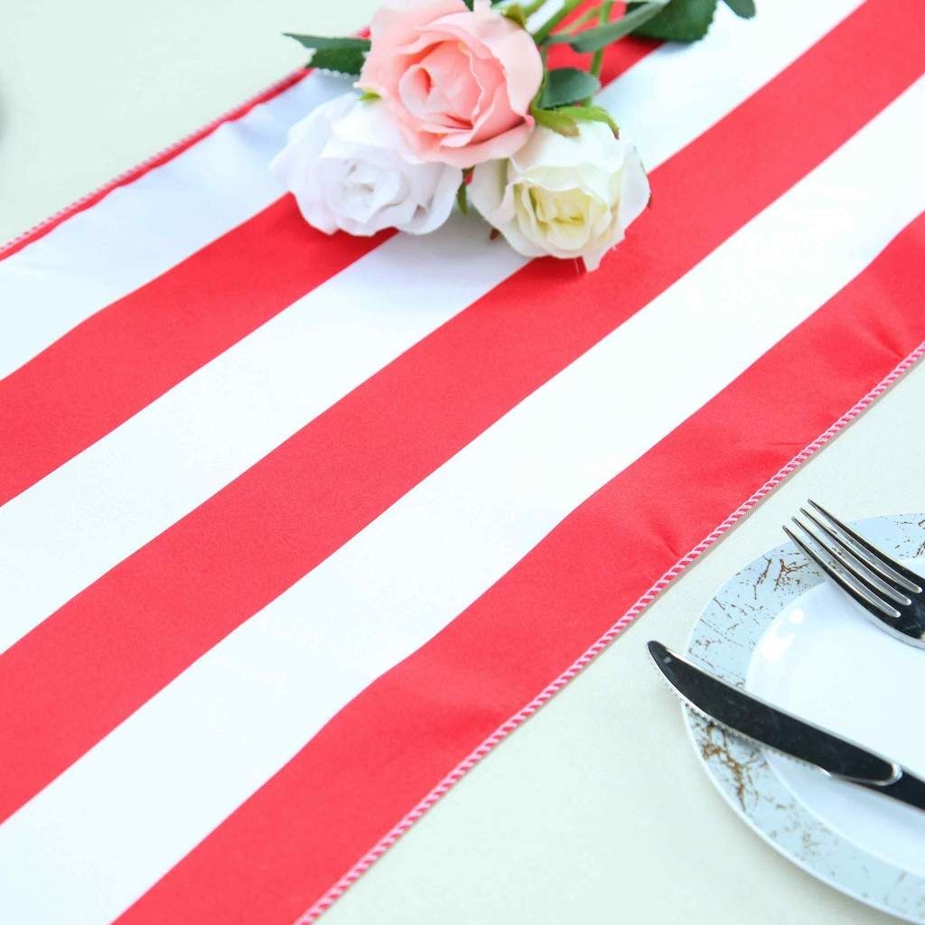12 X 108 Red White Stripe Satin Table Runners In 2020 Striped Table Runner Red And White Stripes Table Runners