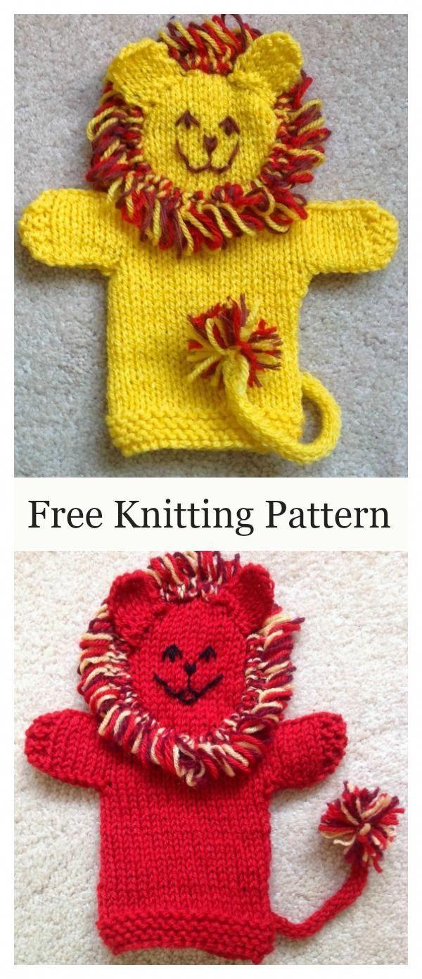 Cute Lion Hand Puppet Free Knitting Pattern # ...