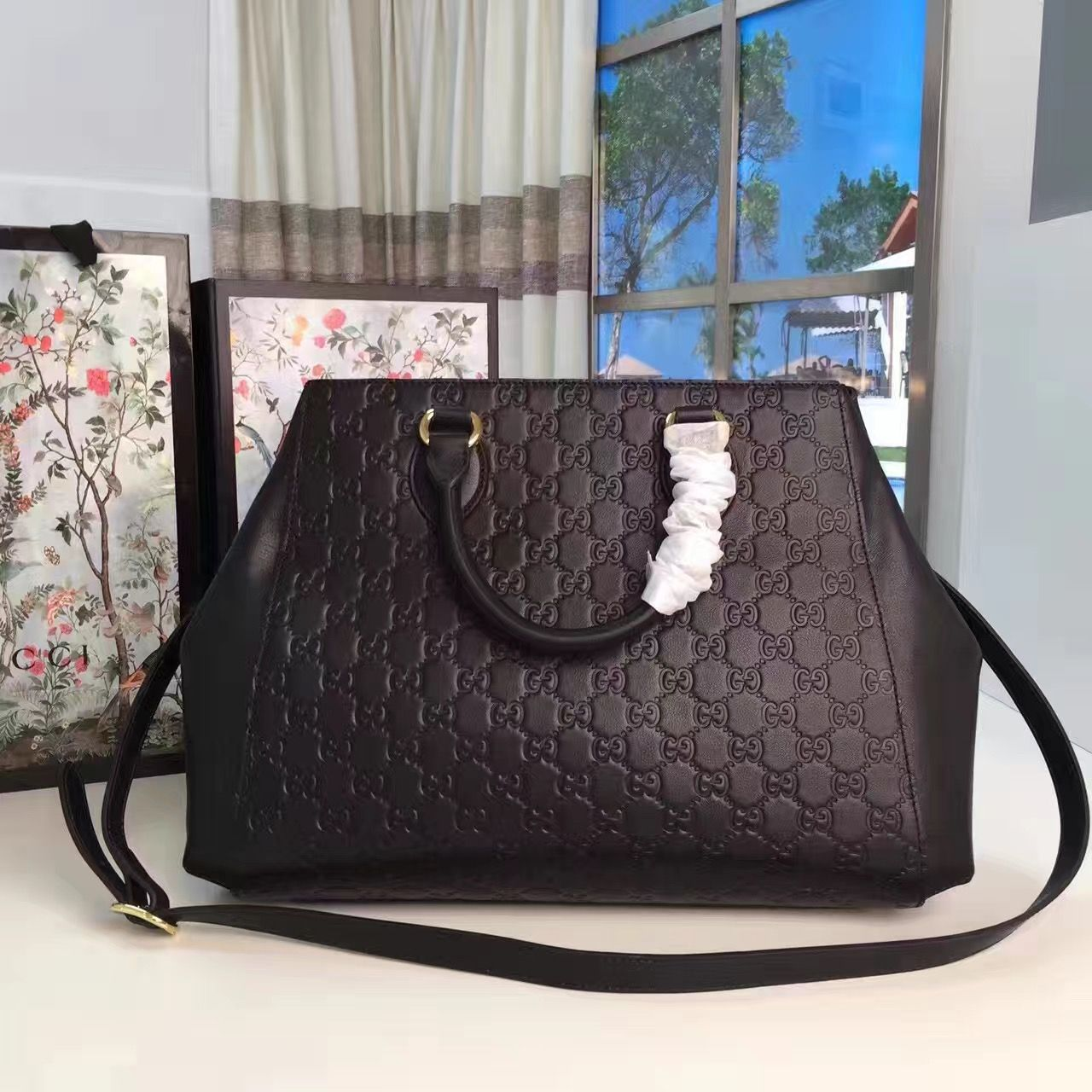 1773a220fcb Gucci Soft Signature Top Handle Large Bag 453704 Black 2017