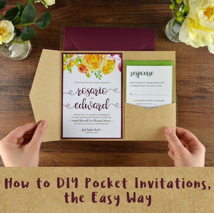 How To DIY Pocket Invitations The Easy Way Diy InvitationsInvitation CardsWedding InvitationLow Budget