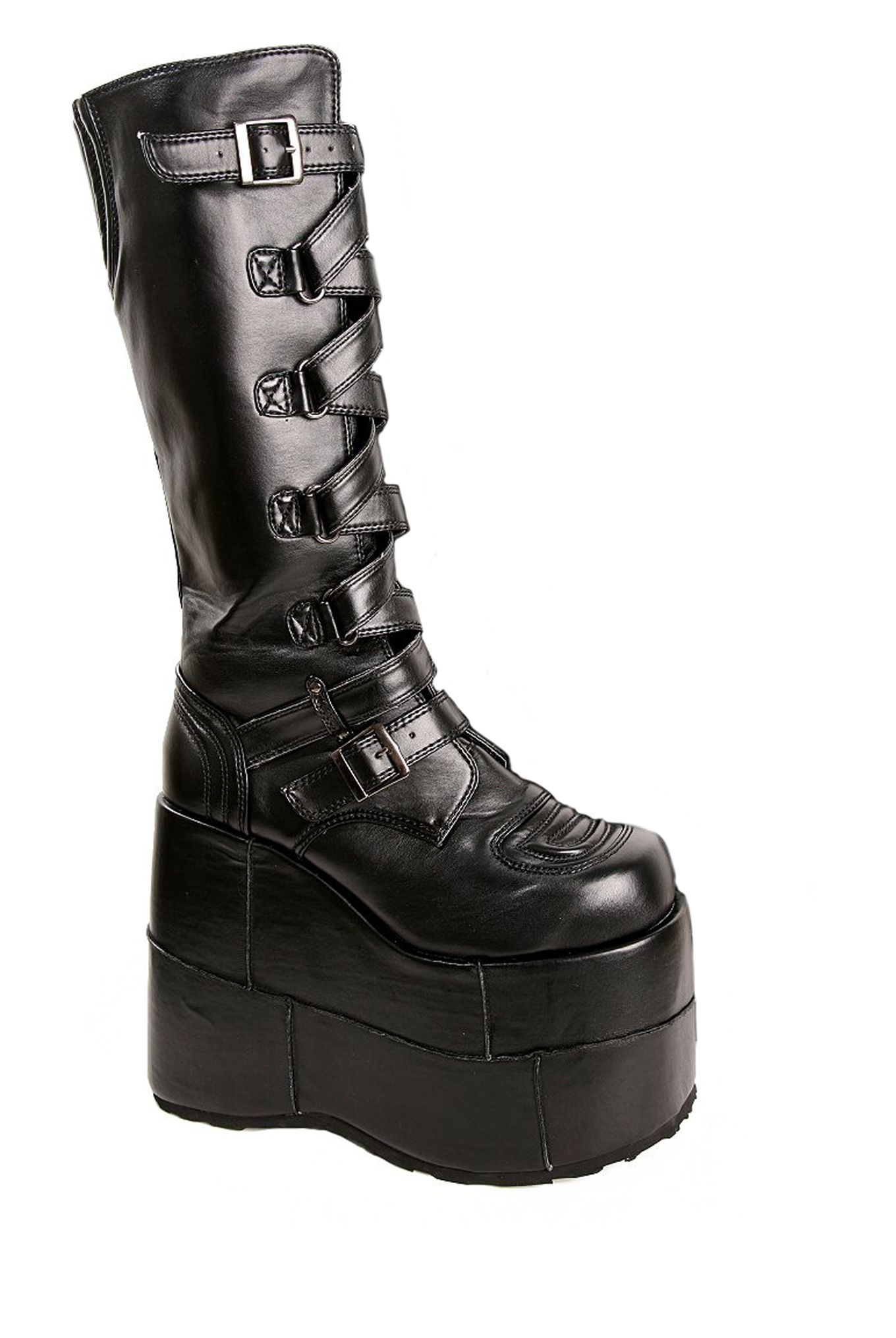 b1419b7a79a Demonia By Pleaser Swing Black Patent Buckle Strap Boots