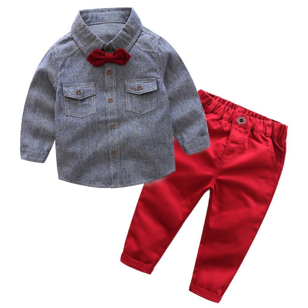 ae758ef68e5d Boys Clothes Set Gentleman Long Sleeve Cotton Shirt + Pants + Bow ...
